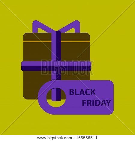 Flat icon of gift box Black Friday