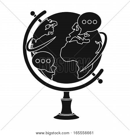 Globe of various languages icon in black design isolated on white background. Interpreter and translator symbol stock vector illustration.