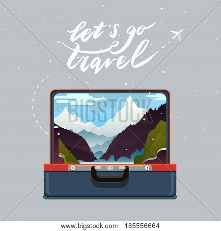 Concept of travel. Lets go travel. Open suitcase with mountain landscape. Flat design, vector illustration.