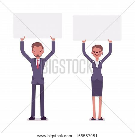 Businessman and businesswoman holding high empty white boards, expressing point of view, organizing a protest in the office, enacting desired changes, full length, copy space