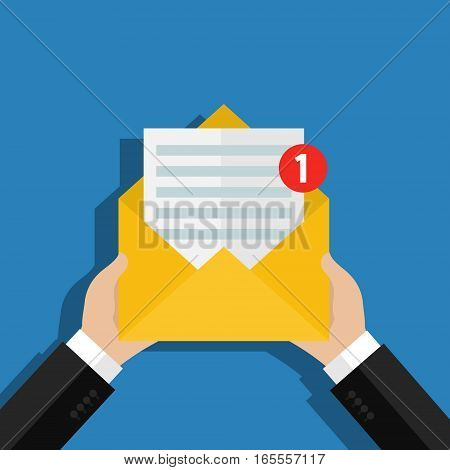 Concept of incoming email message. Letter with counter notification, postman hand, mail delivery service. Flat design, vector illustration.