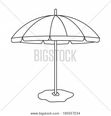 Yelow-green beach umbrella icon in outline design isolated on white background. Brazil country symbol stock vector illustration.