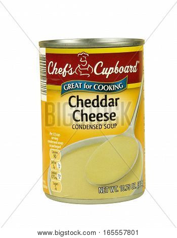 RIVER FALLS,WISCONSIN-JANUARY 16,2017: A can of Chef's Cupboard brand condensed Cheddar Cheese soup on a white background.