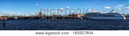 Cruise Ship On Neva River Embankment