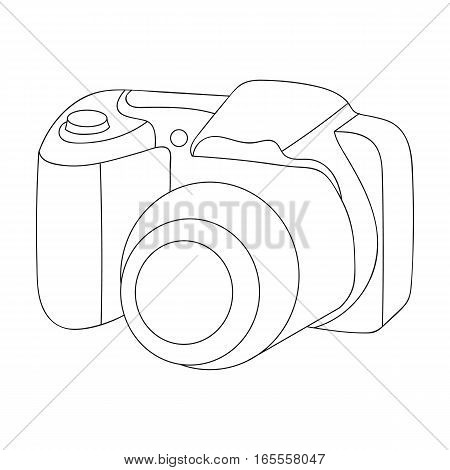 Digital camera icon in outline design isolated on white background. Family holiday symbol stock vector illustration.