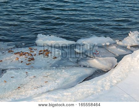 Ice floes on a sea surface. Spring in the sea.