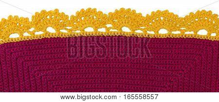 Knitting pattern of handwork. Knitting wool texture background.