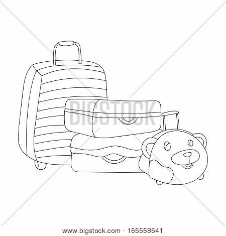 Luggage icon in outline design isolated on white background. Family holiday symbol stock vector illustration.