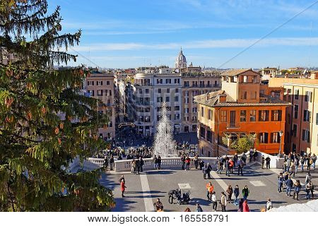 ROME, ITALY: January 01, 2017 : view at the unusual Christmas tree from the top of the Spanish Steps on january 01, 2017, Rome, Italy