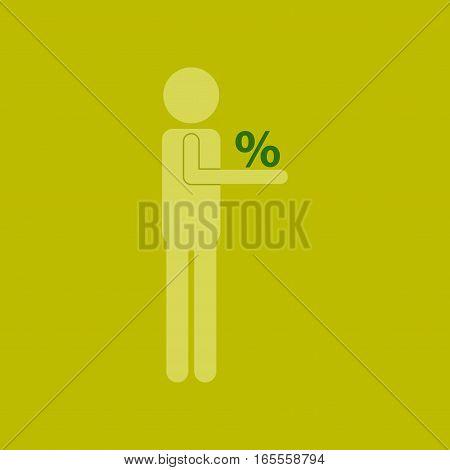 Flat icon of stick figure human discounts percent