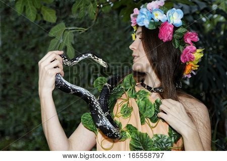 Young Girl With Snake. Temptation Of Eve.