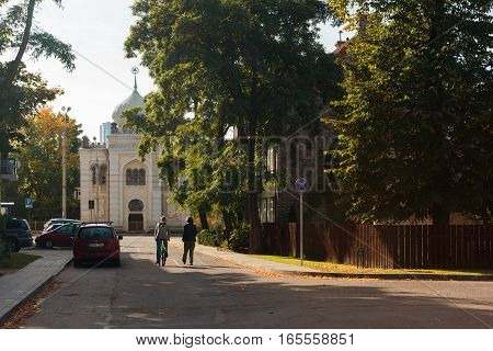 Vilnius Lithuania - October 1 2016: Calm city life around the only Karaim kenesa in Vilnius Lithuania. There are about 300 Karaites in Lithuania.