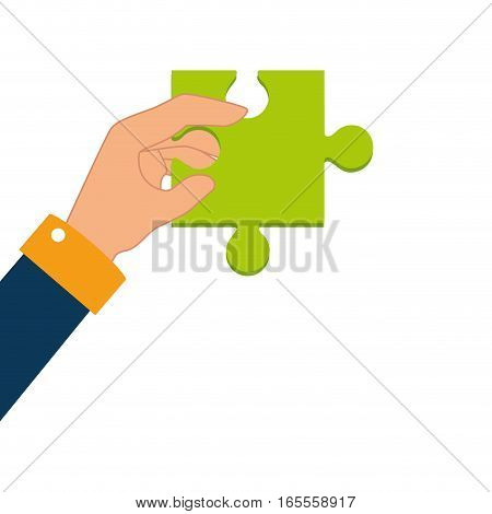 hand human with puzzle piece vector illustration design