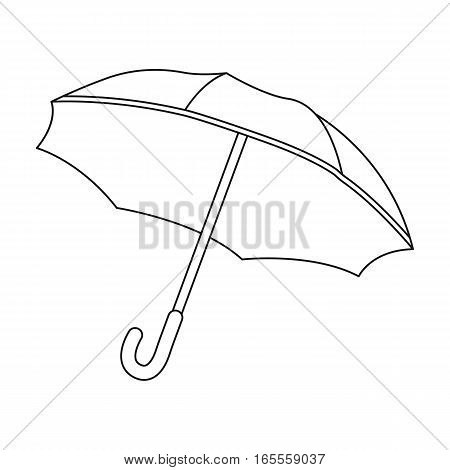 Umbrella icon in outline design isolated on white background. France country symbol stock vector illustration.