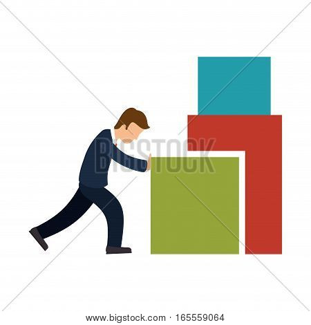 business person Pushing a block vector illustration design