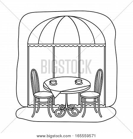 Served table near cafe icon in outline design isolated on white background. France country symbol stock vector illustration.