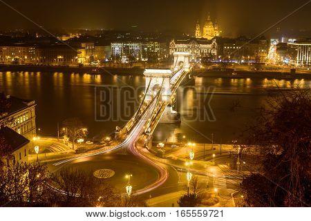 Panorama of Budapest, Hungary, with the Chain Bridge at night