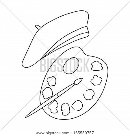 Painting palette and beret icon in outline design isolated on white background. France country symbol stock vector illustration.