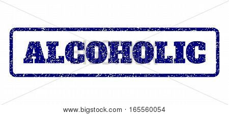 Navy Blue rubber seal stamp with Alcoholic text. Vector message inside rounded rectangular frame. Grunge design and dust texture for watermark labels. Horisontal sticker on a white background.