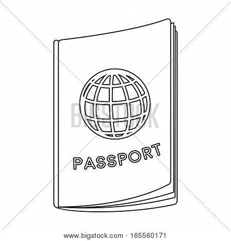 Passport icon in outline design isolated on white background. Rest and travel symbol stock vector illustration.