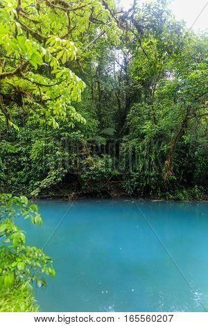 Rio celeste river at foggy day Tenorio national park Costa Rica