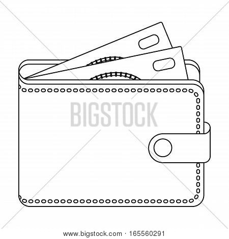 Wallet with cash icon in outline design isolated on white background. Rest and travel symbol stock vector illustration.