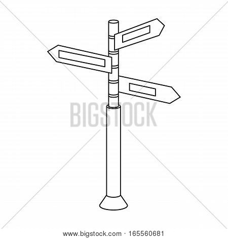 Crossroad sign icon in outline design isolated on white background. Rest and travel symbol stock vector illustration.