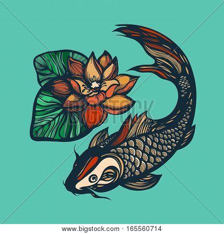 Fish Koi Lotus Flower Vector Photo Free Trial Bigstock