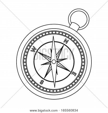 Compass icon in outline design isolated on white background. Rest and travel symbol stock vector illustration.