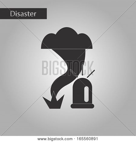 black and white style icon of tornado alarm lamp