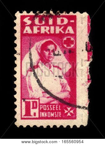 South Africa - CIRCA 1943: A stamp printed by South Africa shows nurse during World War II, series war effort , circa 1943