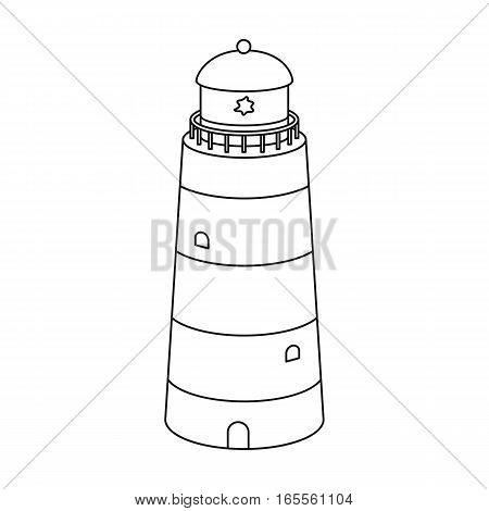 Lighthouse icon in outline design isolated on white background. Rest and travel symbol stock vector illustration.