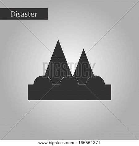 black and white style icon of tsunami mountains