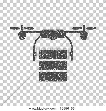 Cargo Drone grainy textured icon for overlay watermark stamps. Flat symbol with dirty texture. Dotted vector gray ink rubber seal stamp with grunge design on a white background.