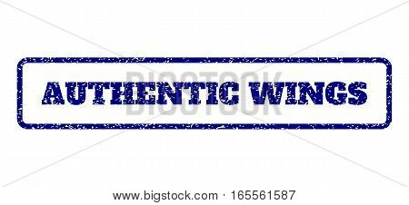 Navy Blue rubber seal stamp with Authentic Wings text. Vector caption inside rounded rectangular frame. Grunge design and unclean texture for watermark labels.