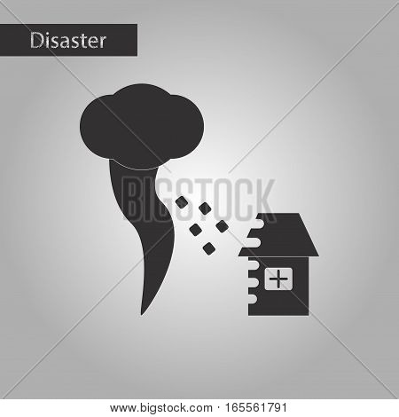 black and white style icon of tornado destruction house