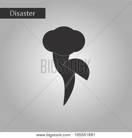 black and white style icon of tornado umbrella