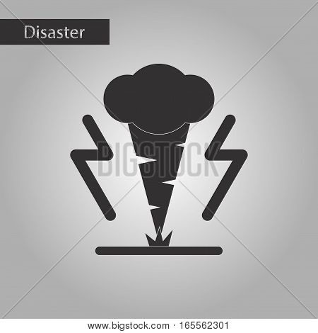 black and white style icon of disaster tornado
