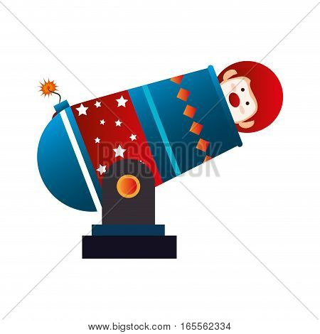 Clown cannon circus icon vector illustration design