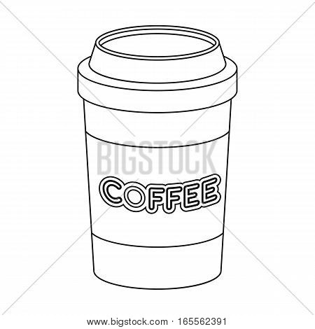 Disposable coffee cup icon in outline design isolated on white background. Hipster style symbol stock vector illustration.