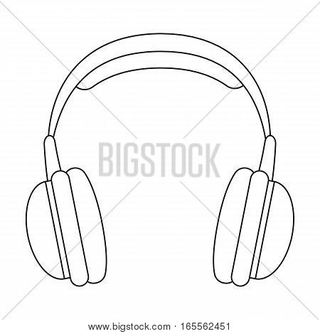 Vintage headphones icon in outline design isolated on white background. Hipster style symbol stock vector illustration.