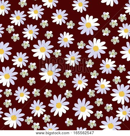 Seamless vector floral pattern on brown background. Daisies and yarrow.