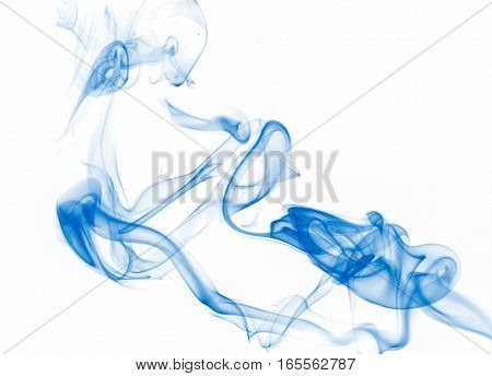 Blue smoke on a white, bright abstract background.