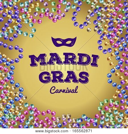 Mardi Gras colorful beads. vector illustration on gold background carnival mask