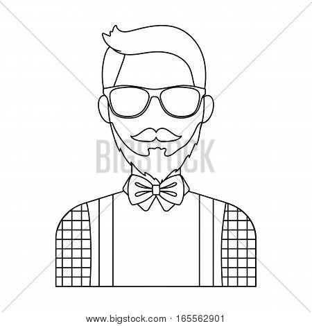 Hipster icon in outline design isolated on white background. Hipster style symbol stock vector illustration.