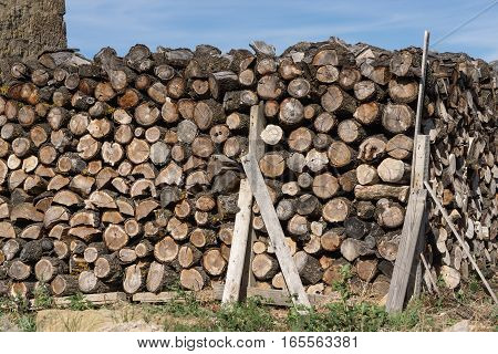 Pile of wood logs ready for winter, dry chopped firewood on a green field