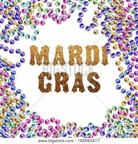 Gold Mardi Gras colorful beads. vector illustration isolated