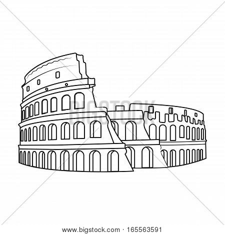 Colosseum in Italy icon in outline design isolated on white background. Countries symbol vector illustration.