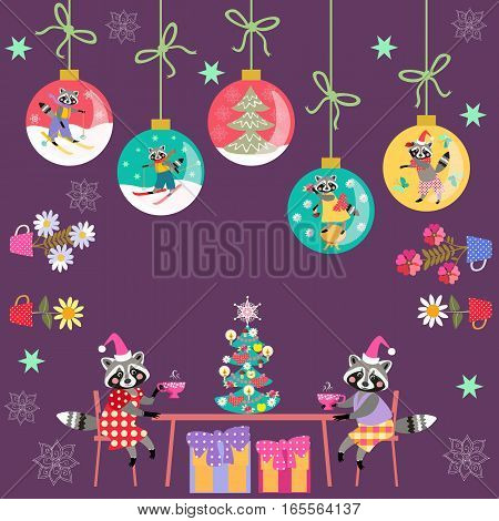 Merry Christmas! Greeting card with cute cartoon raccoons Christmas tree, christmas balls, houseplants and snowflakes.