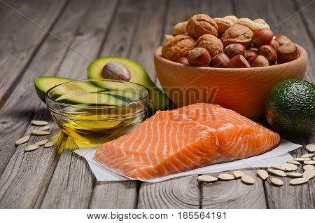 Selection of healthy fat sources. Selective focus, copy space.